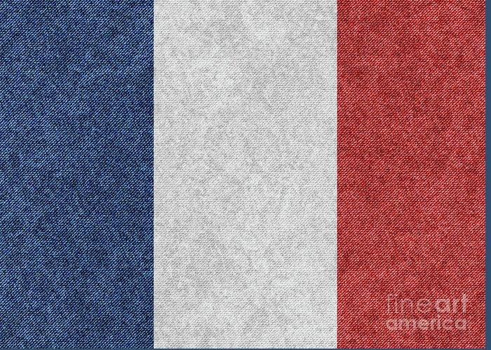 Vector Greeting Card featuring the digital art Denim France Flag Illustration by Iurii Vlasenko
