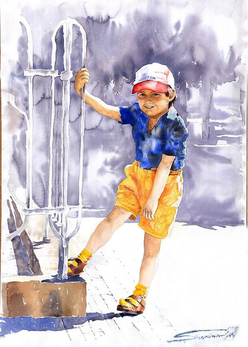 Watercolor Watercolour Figurativ Portret Greeting Card featuring the painting Denis 02 by Yuriy Shevchuk