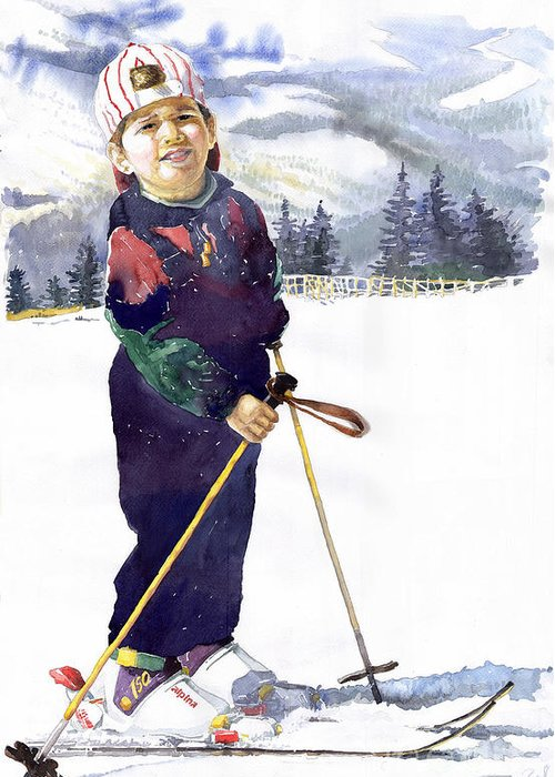 Watercolor Watercolour Figurative Ski Children Portret Realism Greeting Card featuring the painting Denis 03 by Yuriy Shevchuk