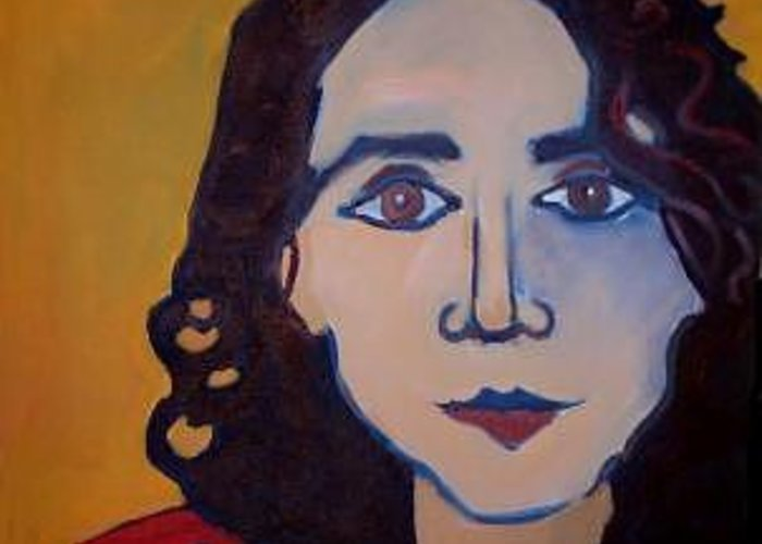 Greek Woman Greeting Card featuring the painting Denise Closeup by Debra Bretton Robinson