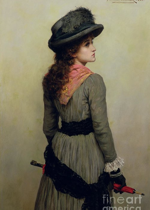 Hat Greeting Card featuring the painting Denise by Herbert Schmalz