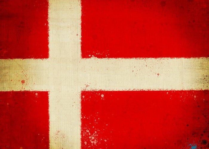 Chalk Greeting Card featuring the painting Denmark Flag by Setsiri Silapasuwanchai