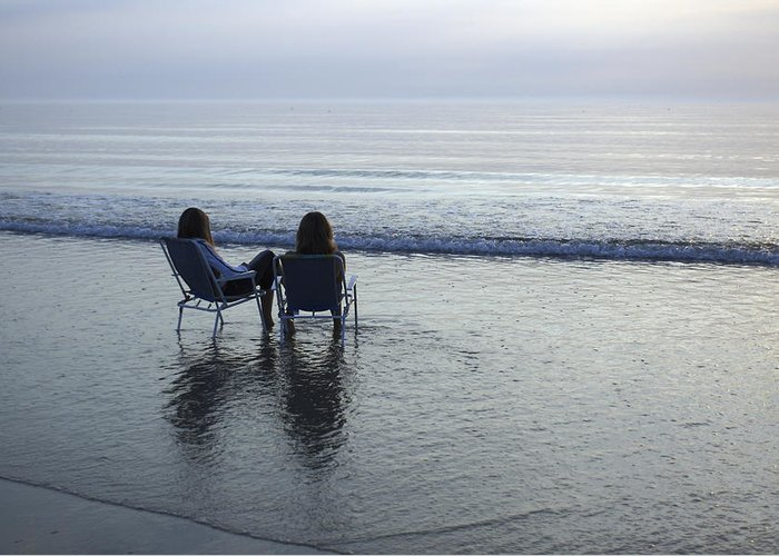 Two People Greeting Card featuring the photograph Denmark, Romo, Two Young Women Relaxing by Keenpress