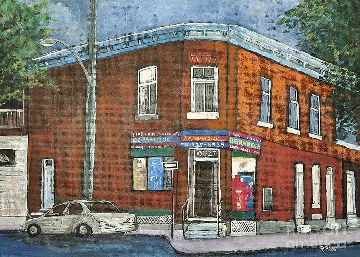 Montreal Greeting Card featuring the painting Depanneur Surplus De Pain Rue Charlevoix by Reb Frost