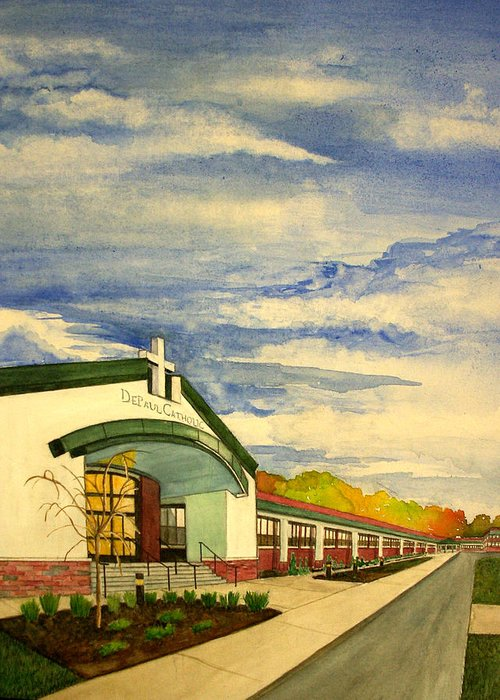 Landscape Greeting Card featuring the painting Depaul Catholic by Joe Lanni