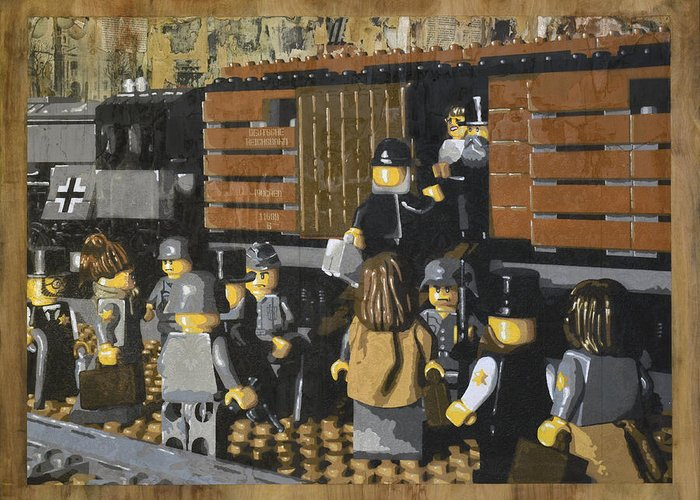 Lego Greeting Card featuring the painting Deportation From Warsaw To Treblinka July 22 1942 by Josh Bernstein