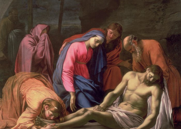 Deposition Greeting Card featuring the painting Deposition by Eustache Le Sueur
