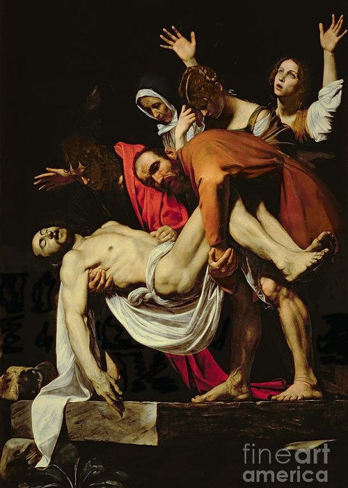 Deposition Greeting Card featuring the painting Deposition by Michelangelo Merisi da Caravaggio