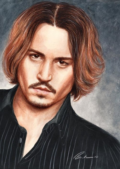Johnny Depp Bruce Lennon Art Portrait Illuystration Celebrities Greeting Card featuring the painting Depp by Bruce Lennon