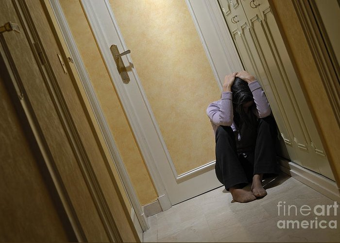 Casual Clothing Greeting Card featuring the photograph Depressed Woman Sitting In Corridor With Head In Hands by Sami Sarkis