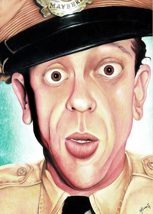 Portrait Greeting Card featuring the painting Deputy Of Mayberry by Marvin Luna