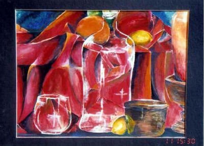 Bottle Greeting Card featuring the painting Deranged Still Life My Eye Opener by Amanda Sanford