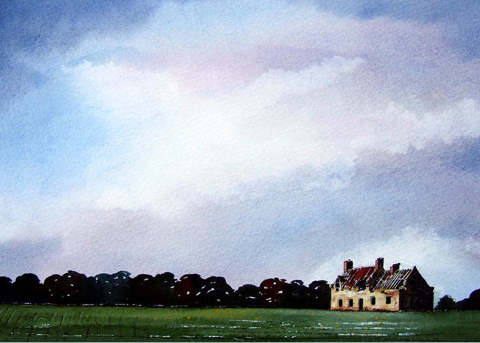 Watercolour Greeting Card featuring the painting Derelict Farmhouse Near Malton by Paul Dene Marlor