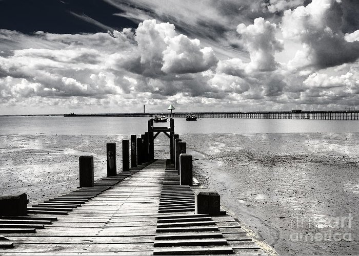Wharf Southend Essex England Beach Sky Greeting Card featuring the photograph Derelict Wharf by Sheila Smart Fine Art Photography