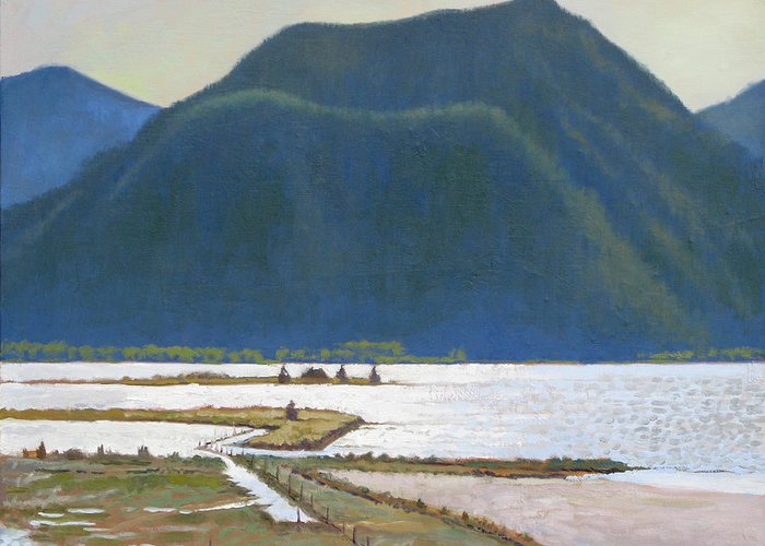 Lake Greeting Card featuring the painting Derr Mountain by Robert Bissett