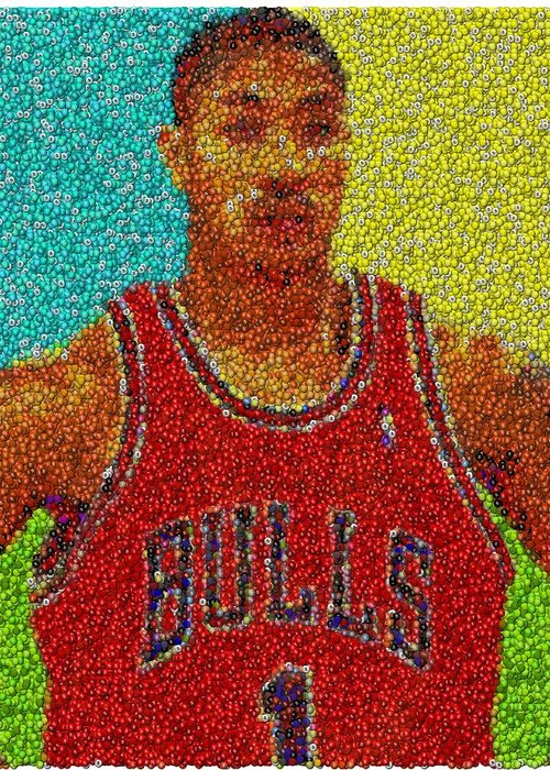 49b8aa8bb404 Chicago Greeting Card featuring the mixed media Derrick Rose Skittles Mosaic  by Paul Van Scott