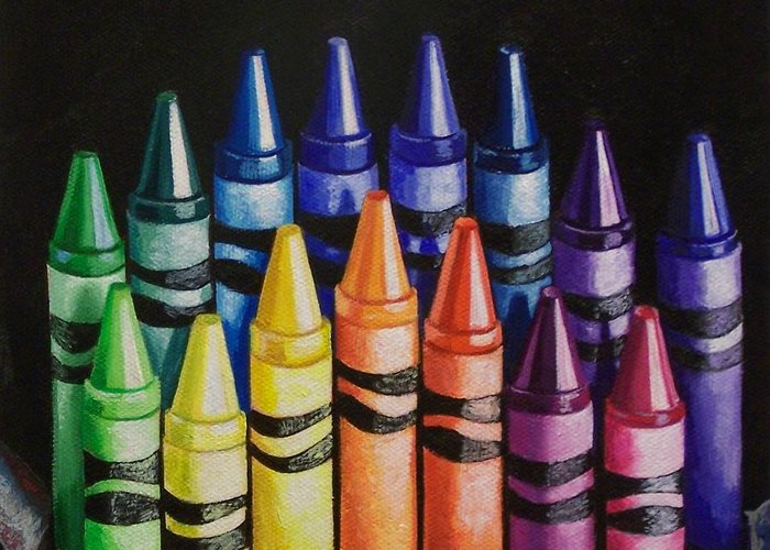 Crayons Greeting Card featuring the painting Des Colores by Melanie Cossey