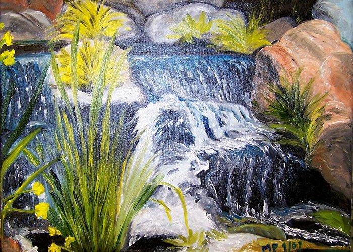 Water-waterfall-rocks-splash-plants Greeting Card featuring the painting Descanso Waterfall by Madeleine Prochazka