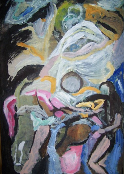 Abstract Greeting Card featuring the painting Descending Figures by Geraldine Liquidano