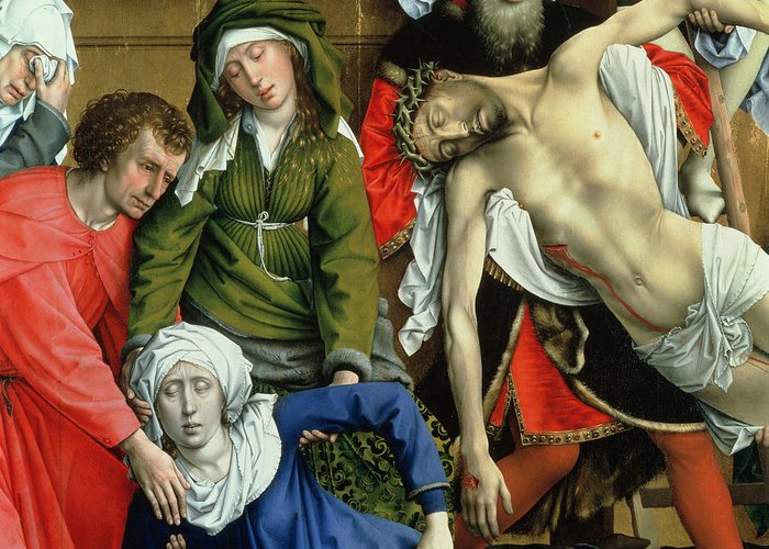 Descent From The Cross Greeting Card featuring the painting Descent From The Cross by Rogier van der Weyden