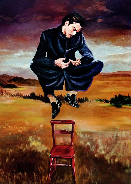 Priest Greeting Card featuring the painting Deseos En El Aire by Mix Luera