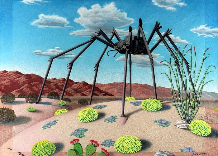 Desert Greeting Card featuring the painting Desert Bug by Snake Jagger