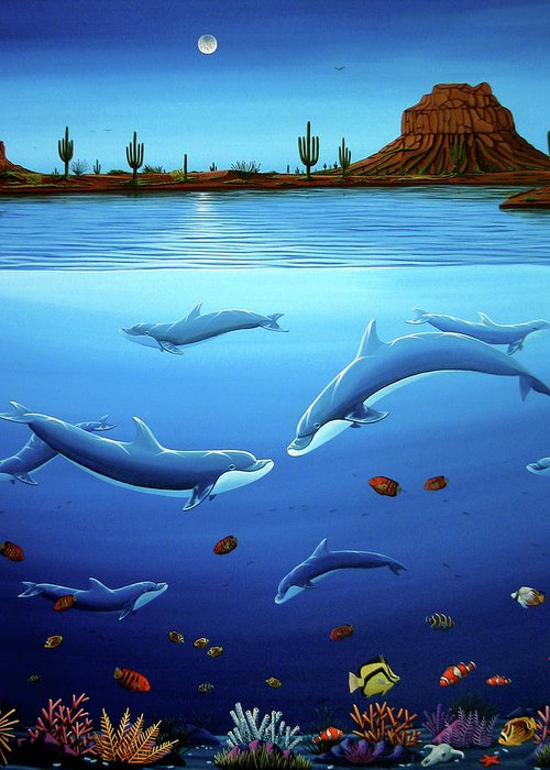Ocean Greeting Card featuring the painting Desert Dolphins Close by Lance Headlee