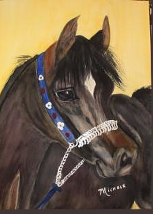 Arabian Horse Greeting Card featuring the painting Desert Dream by Michele Turney