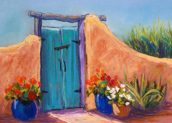 Landscape Greeting Card featuring the pastel Desert Gate by Candy Mayer