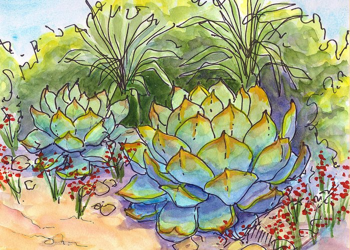 Cactus Greeting Card featuring the painting Desert Gifts by Nancy Matus