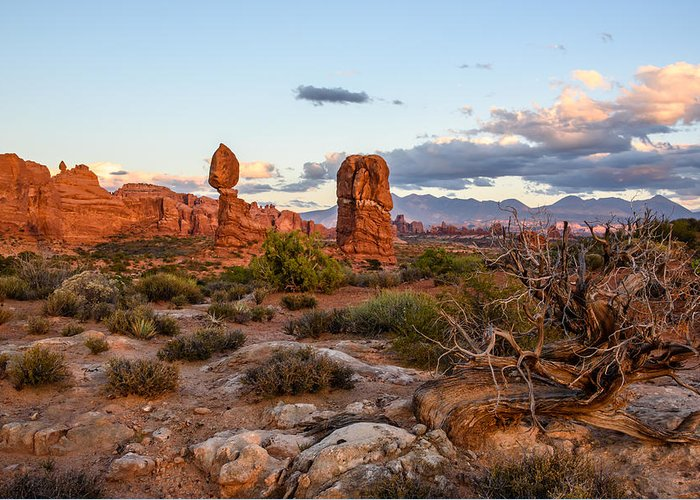 Arches National Park Greeting Card featuring the photograph Desert Glow by Paul Moore