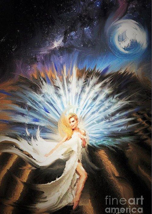Desert Greeting Card featuring the digital art Desert Goddess by Alex Thomas