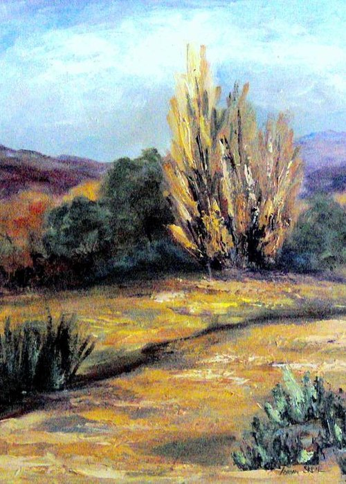 Landscape Greeting Card featuring the painting Desert in the Springtime by Lorna Skeie