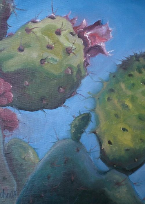 Plants Greeting Card featuring the painting Desert Jewels Iv by Aleksandra Buha