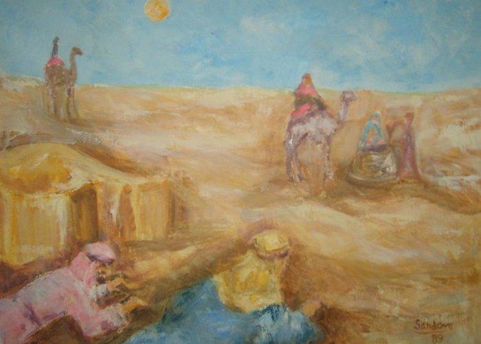 Landscape Camels Arabs Desert Animal Tents Greeting Card featuring the painting Desert by Joseph Sandora Jr