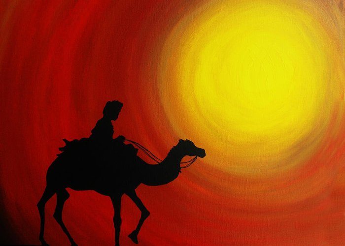 Adventure Greeting Card featuring the painting Desert King by Ramneek Narang