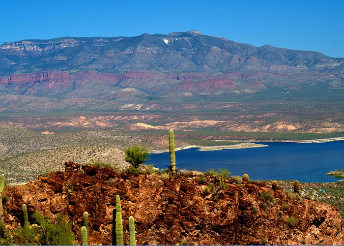 Desert Greeting Card featuring the photograph Desert Lake by Bob Welch