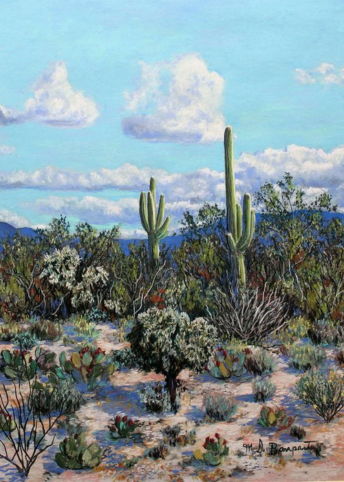 Cactus Greeting Card featuring the painting Desert Landscape by M Diane Bonaparte