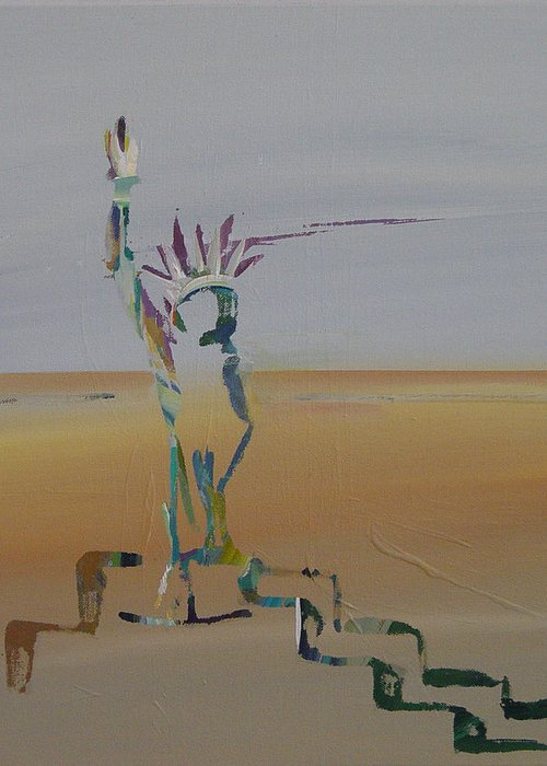 Statue Of Liberty Greeting Card featuring the painting Desert Liberty by Kevan Krasnoff