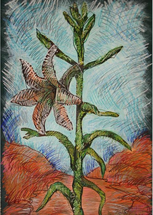 Lily Greeting Card featuring the painting Desert Lily by Dodd Holsapple