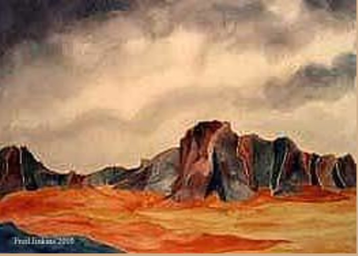 Desert Greeting Card featuring the painting Desert Mountains by Fred Jinkins