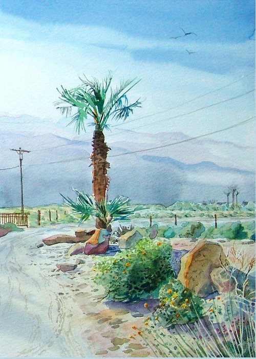 Watercolor Greeting Card featuring the painting Desert Palm by John Norman Stewart