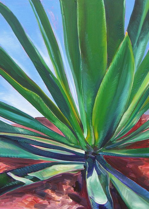 Botanical Greeting Card featuring the painting Desert Plant by Karen Doyle
