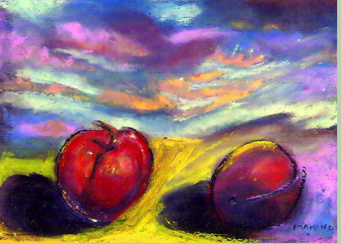 Plums Greeting Card featuring the painting Desert Plum by Angelina Marino