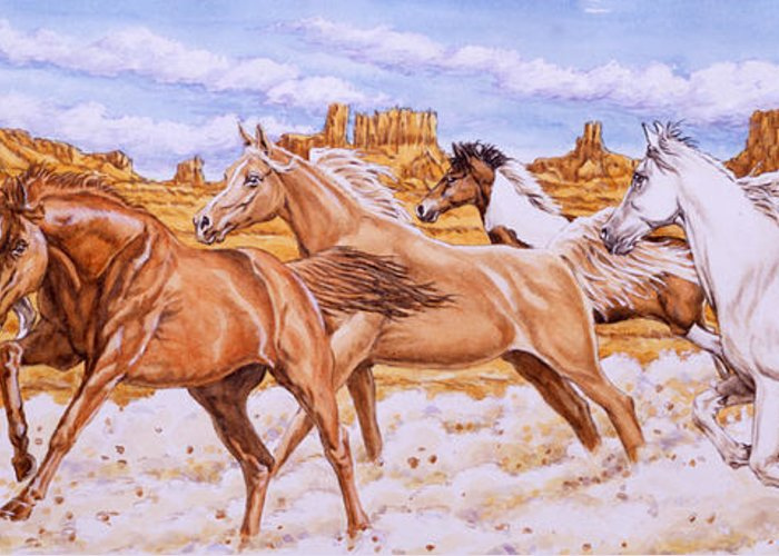 Horse Greeting Card featuring the painting Desert Run by Richard De Wolfe