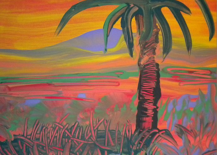Alzheimer's Greeting Card featuring the painting Desert Song By Bill by Art Without Boundaries