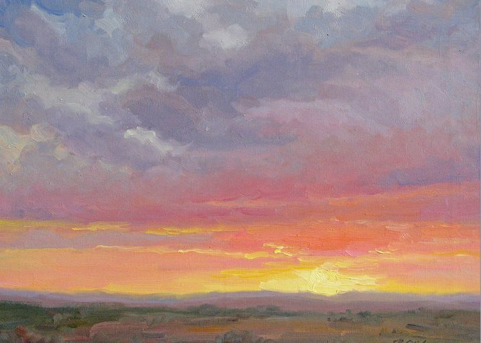Sunset Greeting Card featuring the painting Desert Sundown by Bunny Oliver