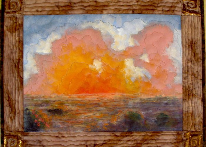 Realism Greeting Card featuring the mixed media Desert Sunset by Diane and Donelli DiMaria