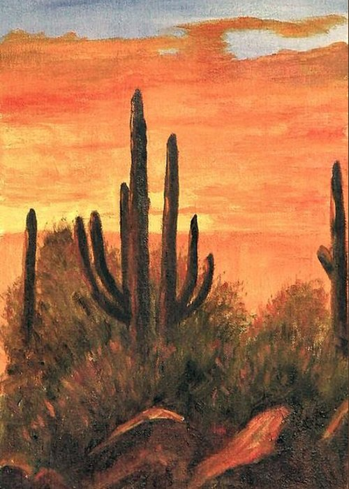 Sunset Greeting Card featuring the painting Desert Sunset I by Merle Blair