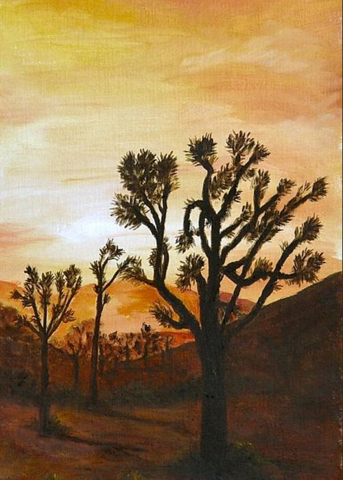 Sunset Greeting Card featuring the painting Desert Sunset II by Merle Blair
